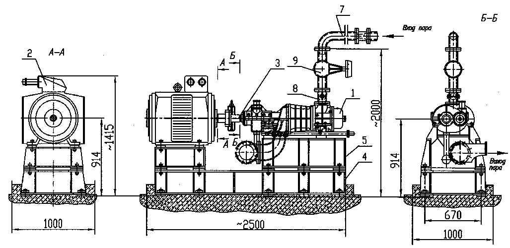 Внешний вид и габаритные размеры установки   ПВМ-250